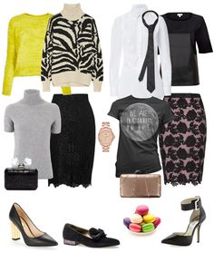 Concept only, Not sure about the yellow fuzzy sweater, but do love the color. The oversized zebra could be fun but too slouchy for me. Party Ensemble: Lace Skirts & Trendy Tops - YLF
