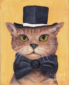 Tophat And Tail Canvas Print / Canvas Art by Robin Wiesneth All Robins, Lion Cat, Canvas Art, Canvas Prints, Cat Hat, Pattern Art, Art Patterns, Domestic Cat, Whimsical Art