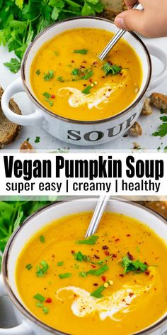 vegan pumpkin soup with coconut milk is super thick, creamy, and rich. It makes a delicious vegan dinner for colder days! Find more vegan recipes at ! Vegan Pumpkin Soup, Pumpkin Recipes, Soup Recipes, Cooking Recipes, Pumkin Soup, Lunch Recipes, Coconut Milk Soup, Coconut Milk Recipes, Coconut Curry