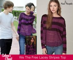 "Back in 2010 Selena Gomez and Justin Bieber were photographed taking a walk together in Miami and she wore this Free People Brand: We The Free Long Sleeve Lacey Stripes Top in color Plum. She also wore this in the Wizards of Waverly Place Season 4 Episode: ""Round the Clock"". This top has been sold out for 2 years but not anymore! Its on ebay right now in a size XS for only $24.99!  Bid on it HERE Only 2 more days left on this listing!!"