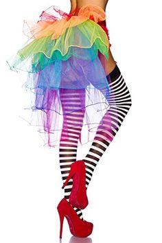 Amynetti Sexy Damen Dessous Burlesque Tüll Volant Rock Minirock für Karneval Fasching Kostüm bunt