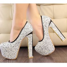 2014 New Style Han edition pumps shoes with 15cm High Heels shallow mouth round head shining gold sequins summer shoes XWD493 $46.34
