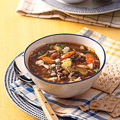 All You (April): Vegetable-Lentil Soup - After a hectic day at work, hearty bowlfuls of Vegetable-Lentil Soup await you in the slow cooker.