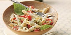 This is the Fresh Tomato and Pesto Penne with Parmesan recipe. Penne Recipes, Couscous Recipes, Parmesan Recipes, New Recipes, Cooking Recipes, Yummy Recipes, Recipies, Tomato Pasta Sauce, Tomato Pesto