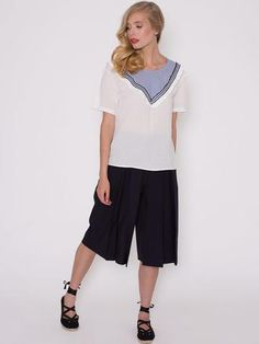 Patti White Top with V Neck Striped Insert with Small Frill Ss16, White Tops, No Frills, V Neck, Pants, Collection, Fashion, Trouser Pants, Moda