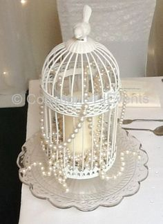 Birdcage on Vintage Cakestand with Pillar Candle & Pearls Bird Cage Centerpiece, Table Centerpieces, Wedding Centerpieces, Wedding Decorations, Wedding Ideas, Shabby Chic Homes, Shabby Chic Decor, Pearl And Lace, Bird Cages
