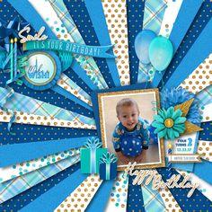 Birthday Scrapbook Layouts, Scrapbook Designs, Scrapbook Supplies, Digital Scrapbook Paper, Scrapbook Pages, Digital Papers, It's Your Birthday, Girl Birthday, Birthday Clipart