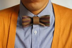 Handmade Paper Bow Tie   (teal blue and lavender plaid design on Brown)- Men Bow Tie from 10/10 design studio