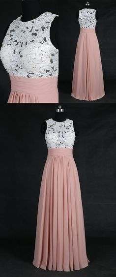 long prom dress, 2017 prom dress, blush pink prom dress, white lace prom dress, formal evening dress