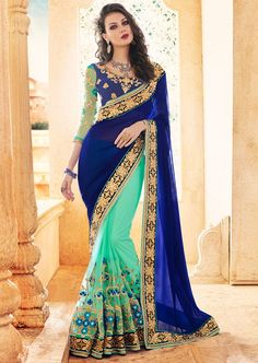 Appealing Aqua Mint and Indigo Blue Saree