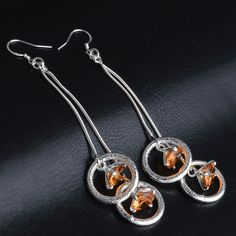 Pair of Elegant Rhinestone Circle Earrings For Women #jewelry, #women, #men, #hats, #watches, #belts