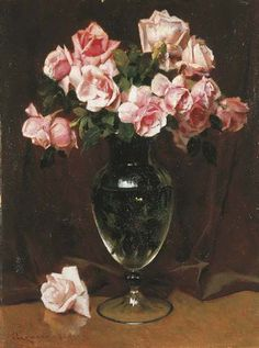Giacomo Grosso (Italian, 1860-1938), Rose nel vaso. Oil on cardboard, 72 x 54 cm.