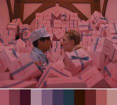 Wes Anderson – One. Movie Color Palette, Colour Pallette, Wes Anderson, Gran Hotel Budapest, Cinema Colours, Color In Film, Colours That Go Together, Color Script, Romantic Movies