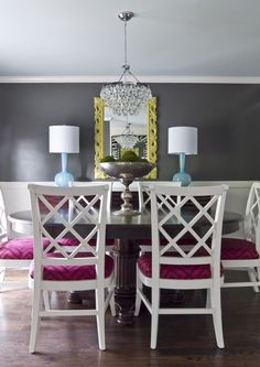 White chairs, dark wood table, dining room