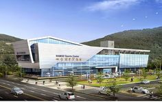 architecture in korea is the best view In terms of architectural telescope 3 dimension projects Nam National Sports Center , Busan , National Spor. Hospital Architecture, Office Building Architecture, Creative Architecture, Building Exterior, Building Facade, Concept Architecture, Facade Architecture, Building Design, Facade Design