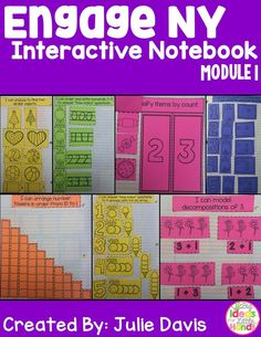 "This is an interactive notebook used to supplement the Engage NY Kindergarten Math Curriculum. There is one interactive activity for each of the 37 lessons in Module 1. Each activity includes an ""I Can"" statement. The only materials that are needed to use this resource are a notebook and classroom supplies. These activities can be used in centers, independently, or as a whole group. I hope you and your students enjoy these lessons!  This module focuses on numbers to 10, attributes of two…"