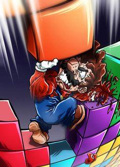 Awesome fan art by Sebastian von Buchwald. Gorillaz, Nintendo Tattoo, Play Tetris, Knight Tattoo, Evil Disney, Nintendo World, Mundo Dos Games, All Video Games, Vs The World
