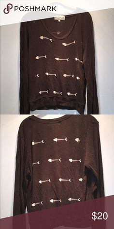Wildfox long sleeve fishbone shirt Really comfy wildfox long sleeve. Slight v-neck. Fishbones on back and front. Light black/grey color Wildfox Tops Tees - Long Sleeve