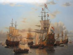 War conference on the Dutch flagship De Zeven Provinciën. Anglo Dutch Wars, Old Sailing Ships, Flying Dutchman, Dutch Golden Age, Naval History, Nautical Art, Tug Boats, Seascape Paintings, Ship Art