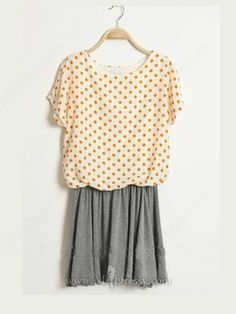 Orange Round Neck Batwing Short Sleeve Polka Dot Mid Waist Dress