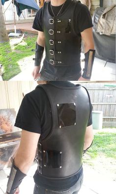 Custom made leather armor and vambraces by Steam Generation  Made using 3.5mm veg tan leather, silver rivets / buckles / plating, hand stitched and dyed