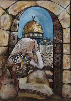 By the artist Nawal Abdelrahim Palestine History, Palestine Art, Dome Of The Rock, Arabesque, Anime Muslim, Islamic Paintings, Jewish Art, Islamic Art, Traditional Art