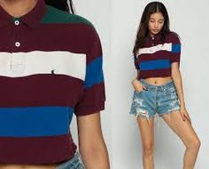 Ralph Lauren Shirt Polo Crop Top Cropped T Shirt Striped Cropped Tshirt Polo  Sport Vintage Retro Tee Purple Blue White Small