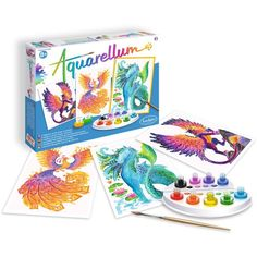 Kids' Paint By Number Kits - SentoSphere Aquarellum Mythical Animals Arts and Crafts Watercolor Paint Set ** Continue to the product at the image link. Watercolor Paint Set, Watercolor Animals, Black Tees, Arts And Crafts Furniture, Painting Activities, Paint By Number Kits, Artist Painting, Animal Paintings, Sewing Patterns