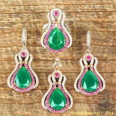 Hurrem Sultan Set Tear Drop Shape Emerald&Ruby by helenfinejewels