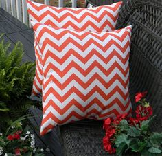 "Set of 2 ~ 20"" Orange and White  Zig Zag Chevron Decorative Square Throw Toss Pillows ~ Indoor Outdoor Fabric"