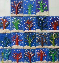 Поделка изделие Новый год Аппликация из пластилина + обратная зимний лес Пластилин фото 1