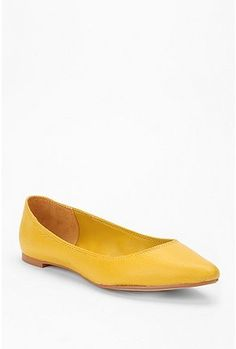 BDG Yellow Leather Pointy Skimmer $34.00