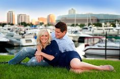 Makeup & Hair Vanessa Valliant. Engagement photo along Chicago Yacht Club