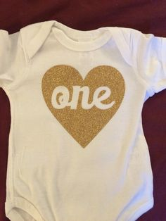 Golden Glitter First Birthday ONE shirt by JamieVanNuysDesigns