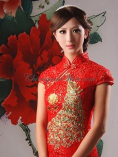 Cheongsam Boutique Cheap Boutique of brilliant red peony & pheonix embroidery lace knee length short sleeves chinese wedding cheongsam dress...