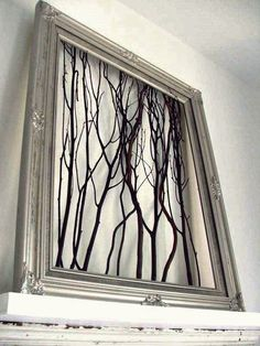 Good way to use curly willow branches. Top 10 Best DIY Wall Decor Good way to use curly willow branches. Top 10 Best DIY Wall Decor was last modified: January… Diy Wand, Fun Diy Projects For Home, Art Projects, Mur Diy, Rama Seca, Deco Nature, Nature Decor, Old Picture Frames, Window Picture