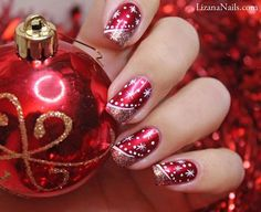 christmas nail art - red nails with glitter and snow flakes