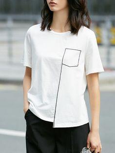 T-shirt simple en coton imprimé à manches courtes stylewe. Designer julia