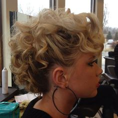 hair updos Curly-Faux-Hawk-Updo Nice Updos for Short Hair Faux Hawk Updo, Curly Faux Hawk, Mohawk Updo, Faux Mohawk, Curly Wedding Updo, Short Hair Updo, Short Hair Cuts, Updos For Curly Hair, 80s Short Hair