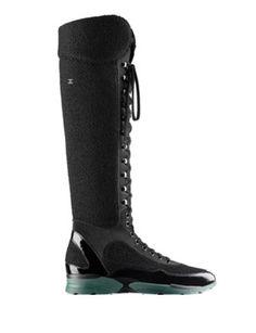 CHANEL Runway Knee High Sneaker Boots