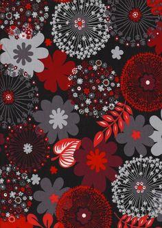 Stoff Blumen - Stretch Jersey Pusteblumen schwarz rot - ein Designerstück von Naehhimmel bei DaWanda
