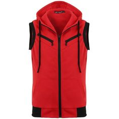 Allegra K Men Kangaroo Pocket Zip Up Drawstring Hooded Vest ($18) ❤ liked on Polyvore featuring men's fashion, men's clothing, men's outerwear, men's vests, mens vest outerwear, mens vest and mens zip up vest
