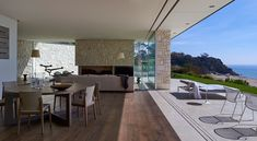 HASSELL | Projects - Point King Residence  Limestone feature living room