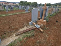 The ANC run Tshwane Metro today demolished six rows of tombstones at the Pretoria East Cemetery, using a tractor and plow. Officials apparently misunderstood a proposed new bylaw that will only allow for vertical tombstones in future.