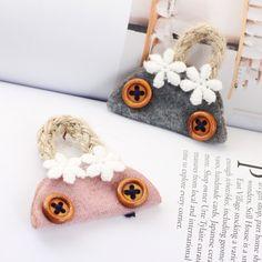 New Arrived 30pcs/lot Flowers/Button Decoration Colorful Printing Cartoon Handbags Shape Handmade Wool Felt Diy Jewelry Making