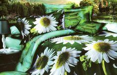 Białe stokrotki zielona pościel z mikrwłókna