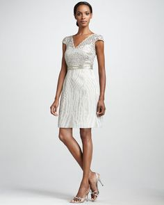 Kay Unger New York Metallic-Lace Cocktail Dress - Possible Bridal Shower Dress. So different and fun!