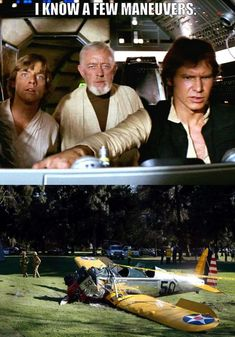 'I know a few maneuvers': A meme imagines Han Solo, right, at the controls with Ben Kenobi...