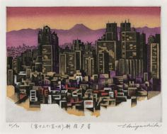 Shinjuku Evening by Tokio Miyashita according to the site it is an Etching/woodblock/aquatint I would like to know more about the process for this print. I love the colours as well as the print. Japanese Prints, Japanese Art, Collagraph, High School Art, Cityscapes, Printers, Seattle Skyline, Artsy Fartsy, Printmaking