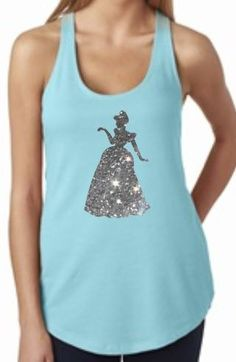 Light Blue GLITTER Cinderella Racerback Terry Tank Top for Vacation Attire for Disney World or Disneyland by MickeysMagicalTees on Etsy https://www.etsy.com/listing/231312841/light-blue-glitter-cinderella-racerback